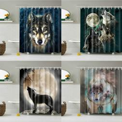 Animals Wolf Bathroom Shower Curtain Washable Fabric With 12
