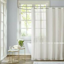 "Madison Park Anna Sheer Shower Curtain White 72""×72"", New!"