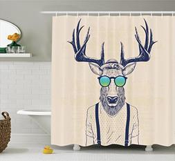 Ambesonne Antlers Decor Shower Curtain, Illustration of Deer