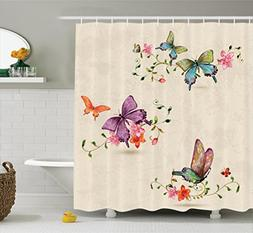 Ambesonne Apartment Decor Shower Curtain Set, Butterfly Coll
