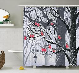 Apartment Decor Shower Curtain Set by Ambesonne, Bullfinches