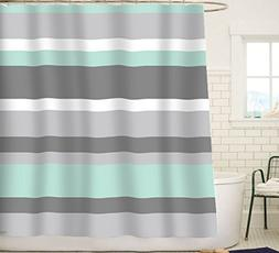 Sunlit Aqua Blue Gray Horizontal Stripes Water-Repellent Fab