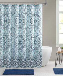 Aqua Fabric Shower Curtain, Floral Gems Mandala Print with G
