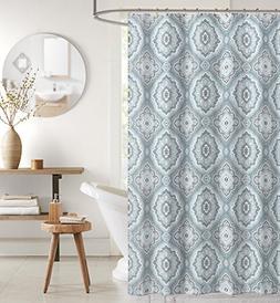 aqua grey white canvas fabric