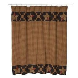 Arlington Patchwork Star Bathroom Shower Curtain by VHC Bran