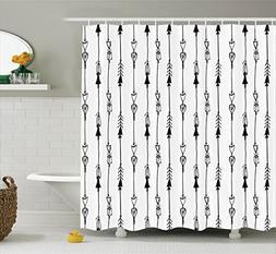 Ambesonne Arrow Shower Curtain, Hand Drawn Linked Endless Ar