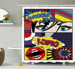 Ambesonne Art Shower Curtain, Comic Book Inspired Style Wooo
