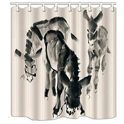 KOTOM Asian Decor Shower Curtain, Donkey Hand-Drawn with Ink