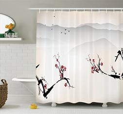 Ambesonne Asian Decor Shower Curtain Set, Japanese Nature La