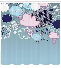 Autumn Rain Shower Curtain Geometry Decor Set with Hooks 4 S