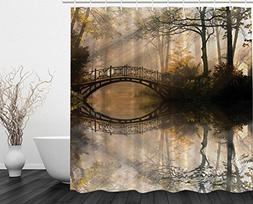 Ambesonne Autumn Shower Curtain by, Mystic Bridge Fall Park