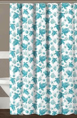 Avalon Home Teal White Fabric Shower Curtain: Sea Turtle Oce