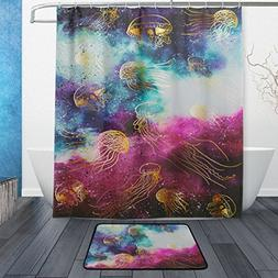 ALAZA Awesome Cosmic Galaxy Dust Golden Jellyfish Shower Cur