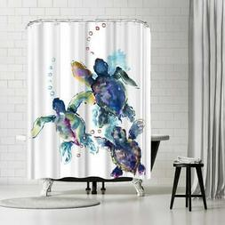 Americanflat 'Baby Sea Turtles 3' Shower Curtain Blue