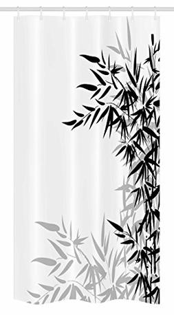 Ambesonne Bamboo Stall Shower Curtain, Bamboo Leaves on Clea