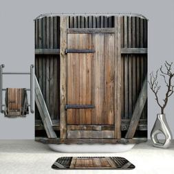 Barn Door Shower Curtain Decor Set Wooden Door Design Bath C