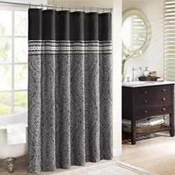 MADISON PARK BARTON 72 X 72 BLACK SHOWER CURTAIN