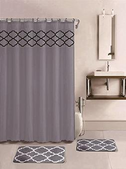 15 Piece Bath Rug Set Choose from Grey, Teal Blue, Burgundy