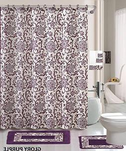 18 Piece Bath Rug Set Lavender Purple Silver Grey print bath