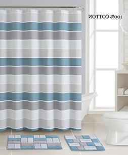 3 Pc. Bath Set: Shower Curtain and 2 Mats, Stripe and Brick