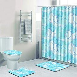 WEEDAY 4 Piece Bath Set: Shower Curtain and 3 Mats  100% pol