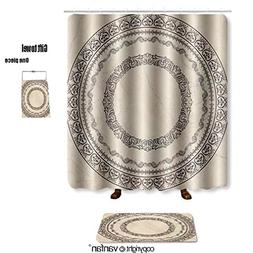 vanfan bath sets with Polyester rugs and shower curtain marb