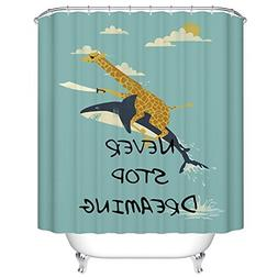 YEHO Art Gallery Bath Shower Curtain with Never Stop Dreamin