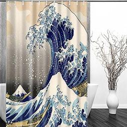 Sea Wave Shower Curtain - FastEngle Waterproof Polyester Cur