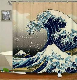 Bath Shower Curtain The Great Wave Kanagawa Pattern Shower C