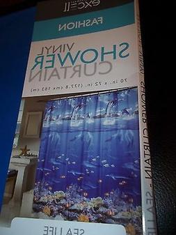 EXCELL BATH SHOWER CURTAIN VINYL PEVA - SEA LIFE DOLPHIN OCE