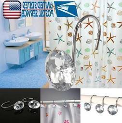 For Bathroom 12PCS Decorative Rhinestone Rolling Shower Curt