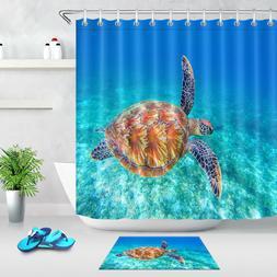 Bathroom Decor Sea Turtle Waterproof Fabric Shower Curtain H