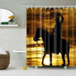 Bathroom Decor Shower Curtain Horse Riding Pattern Polyester