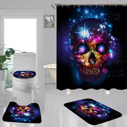Bathroom Skull Waterproof Bath Shower Curtain Toilet Cover M