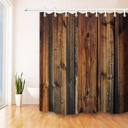 Bathroom Set Polyester Fabric Rustic Wood Shower Curtain Bat