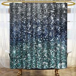 UHOO2018 Bathroom Shower Curtain Bath Decor Blue Silver Glit