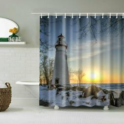 Bathroom Shower Curtain Decor Set Lighthouse Design Bath Cur