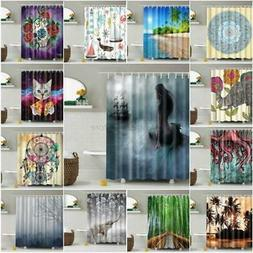 Bathroom Shower Curtain Fabric Animal Printing Tree Landscap