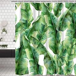 Bathroom Shower Curtain Green Leaves Durable Accessories Ide