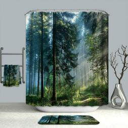 Bathroom Shower Curtain Misty Forest Decor Set Waterproof Cu