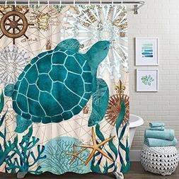 Bathroom Shower Curtain Sea Turtle Ocean Creature Landscape