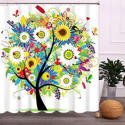 Malicosmile Shower Curtain Tree Design, Mildew Resistant Col