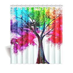 Artsadd Fashion Bathroom Shower Curtain Watercolor Autumn Tr