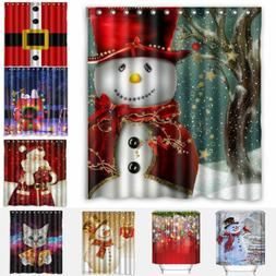Bathroom Shower Curtain Waterproof Textile 12 Hook Christmas