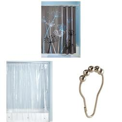 InterDesign Bathroom Shower Set: Thistle Fabric Shower Curta