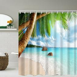Bathroom Washroom Tropical Beach Palm Trees Shower Curtain w