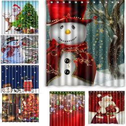 Bathroom Waterproof Shower Curtain Christmas Snowman 3D Prin