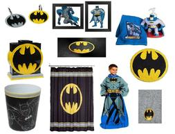 Batman Bathroom Accessories Shower Curtain Towels Waste Bask