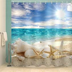 Beach Bathroom Shower Curtain Sunshine Washroom 12 Hooks Wat
