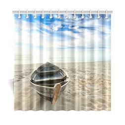 InterestPrint Beach Ocean Theme Polyester Fabric Shower Curt